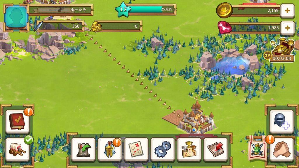 エンパイヤエイジオブナイツの王国戦争画面です