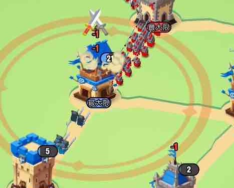 art of war 遠征ゲームのタワーの弓矢の攻撃範囲を示す画像です。