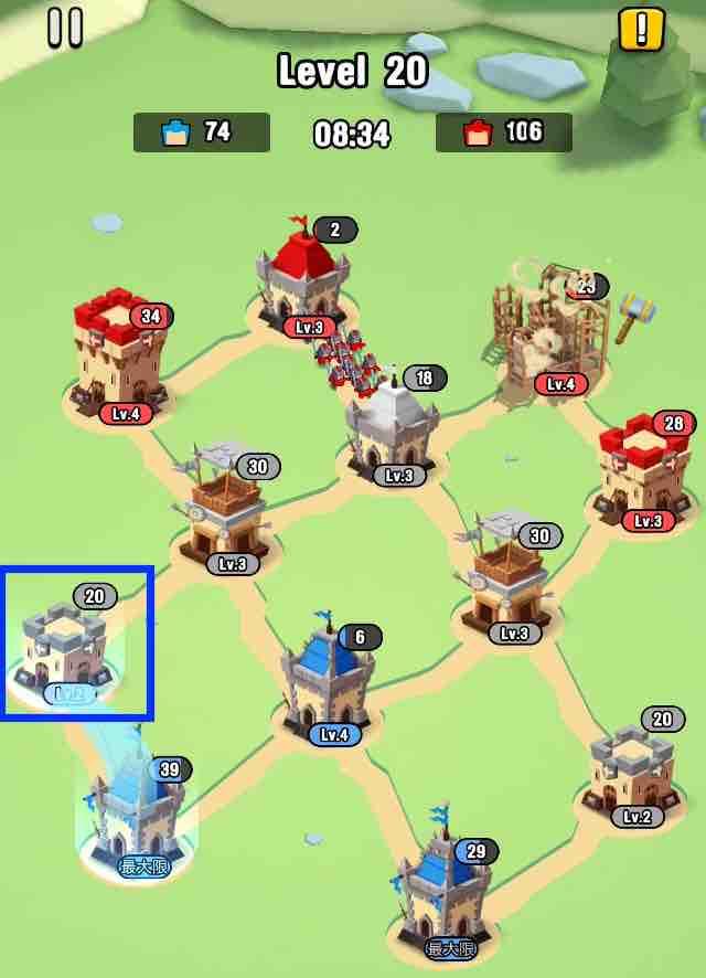 art of war legionsの遠征レベル20のマップ画面です。8の建物を攻めようとしている所です。
