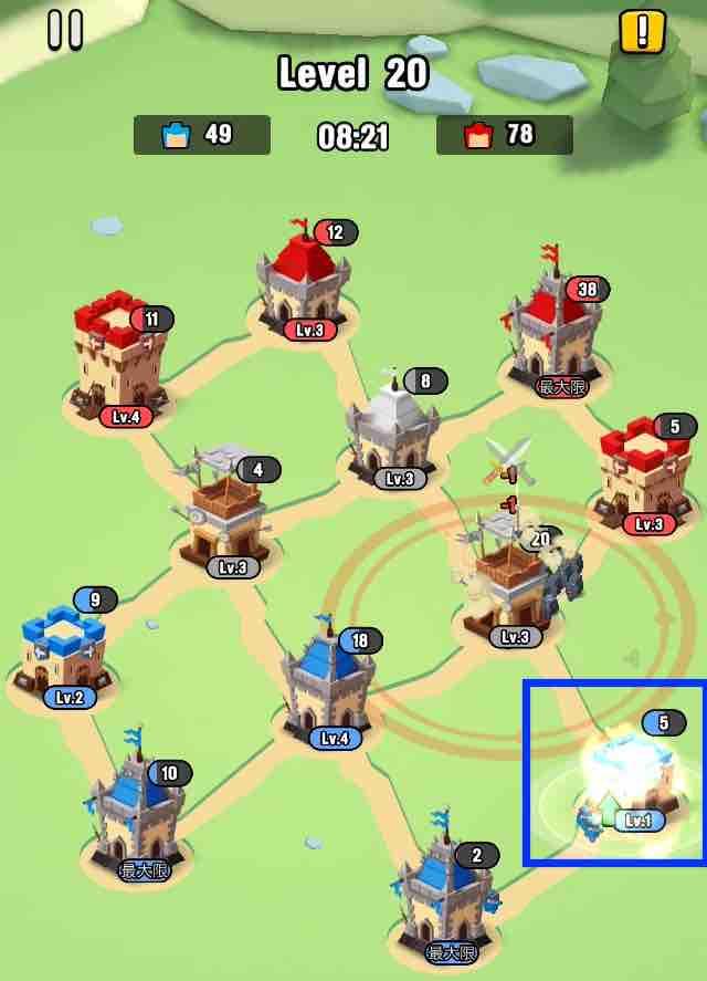 art of war legionsの遠征レベル20のマップ画面です。10の建物を攻め落としました。