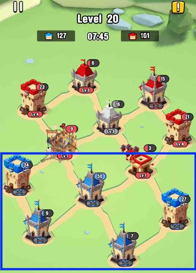 art of war legionsの遠征レベル20のマップ画面です。5つの建物レベルが5になりました。