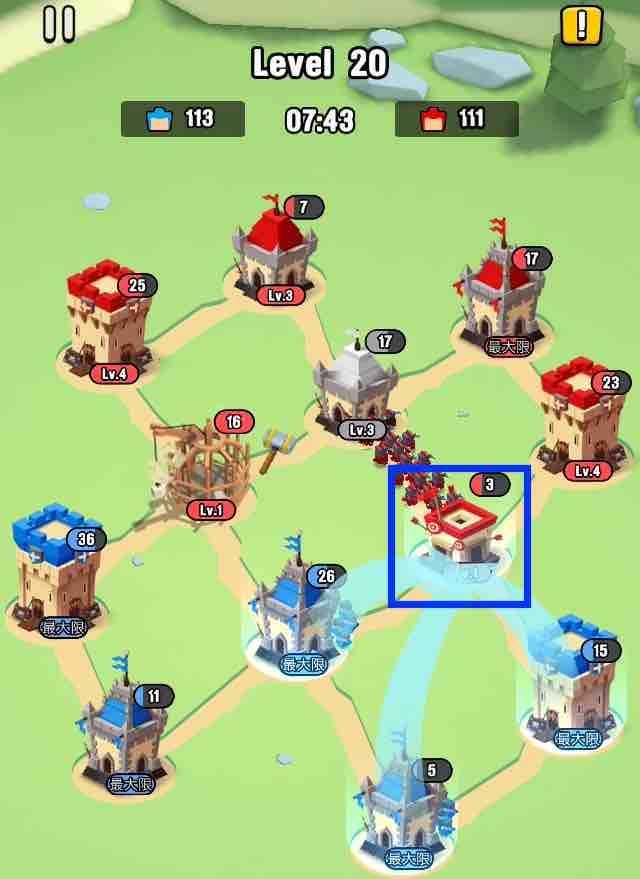 art of war legionsの遠征レベル20のマップ画面です。7の建物を攻めています。