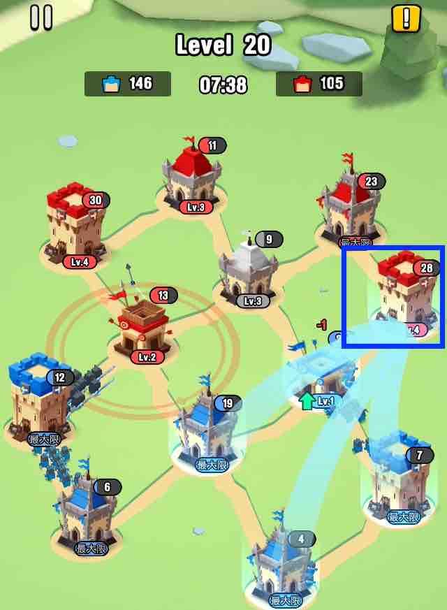 art of war legionsの遠征レベル20のマップ画面です。5の建物に兵士を送っている所です。