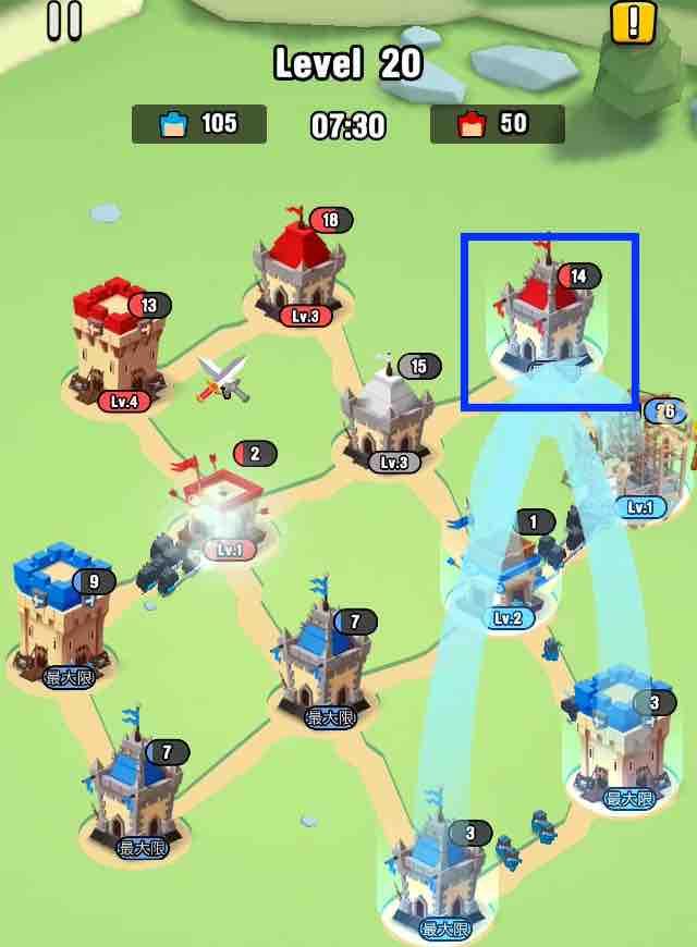 art of war legionsの遠征レベル20のマップ画面です。2の建物を攻めています