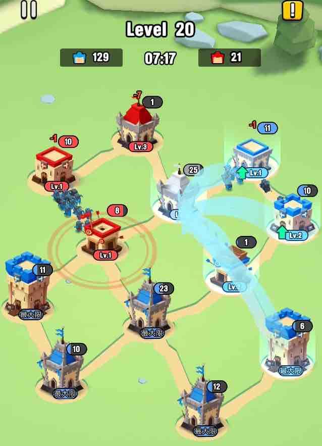 art of war legionsの遠征レベル20のマップ画面です。4の建物を攻めています