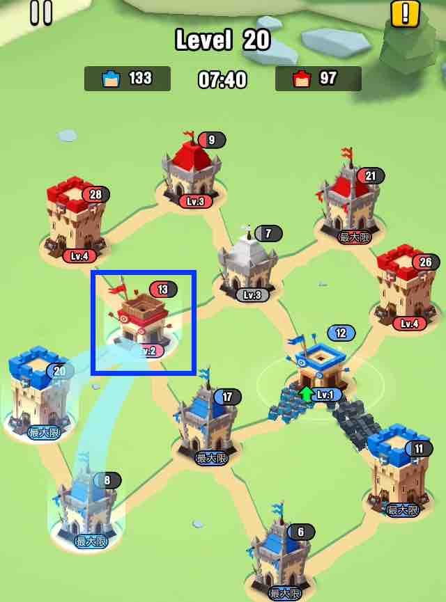art of war legionsの遠征レベル20のマップ画面です。6の建物を攻めています