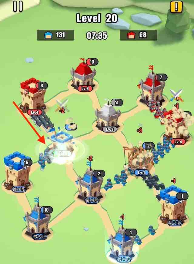 art of war legionsの遠征レベル20のマップ画面です。6は無視して3を攻めています