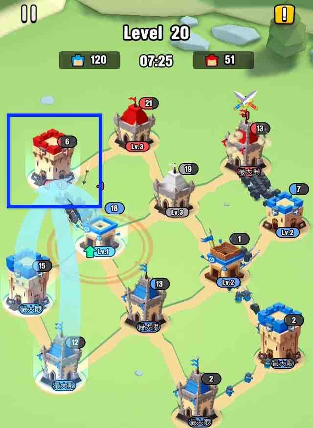 art of war legionsの遠征レベル20のマップ画面です。3を攻めています
