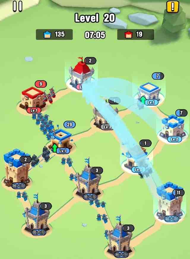 art of war legionsの遠征レベル20のマップ画面です。1を攻めています。