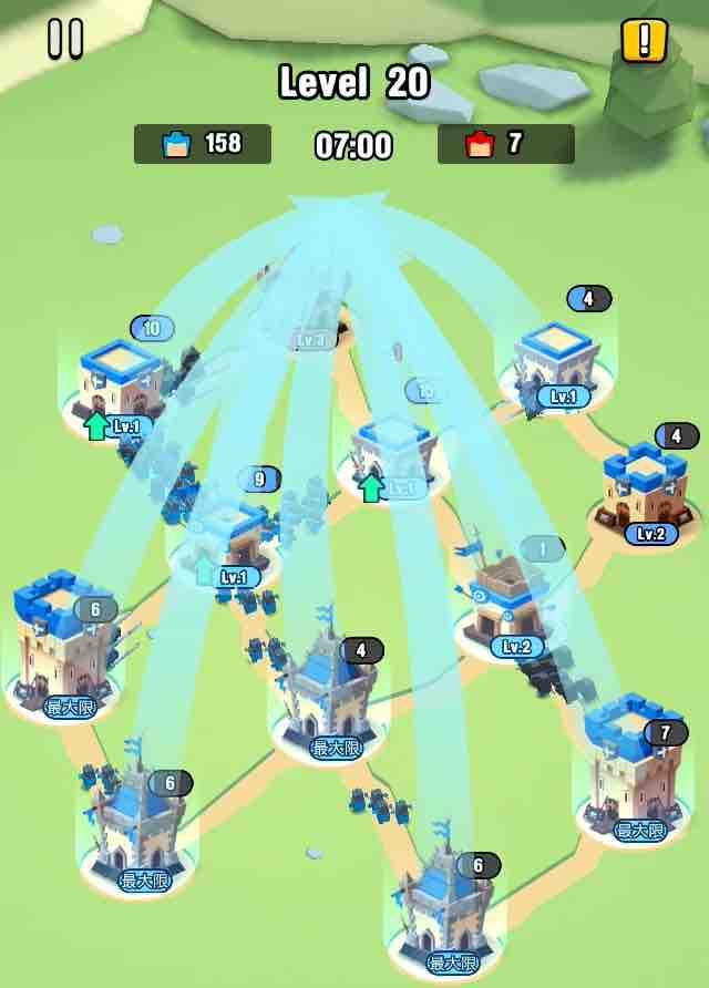 art of war legionsの遠征レベル20のマップ画面です。一斉に1に兵士を送り一網打尽にします。