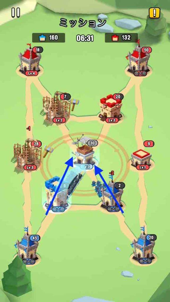 art of war(アートオブウォー)のチャプター2レベル20の画面で、真ん中の建物を攻めています。