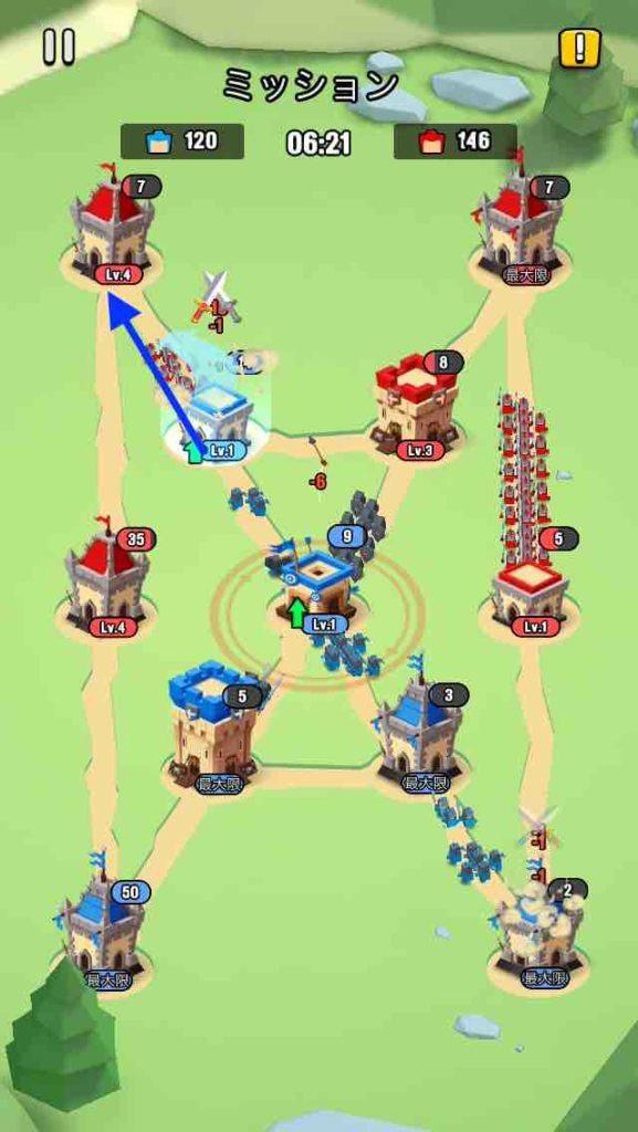 art of war(アートオブウォー)のチャプター2レベル20の画面で、左上の建物を攻めています。
