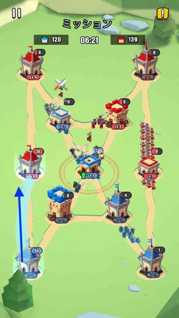 art of war(アートオブウォー)のチャプター2レベル20の画面で、左下から左真ん中の建物を攻めています。