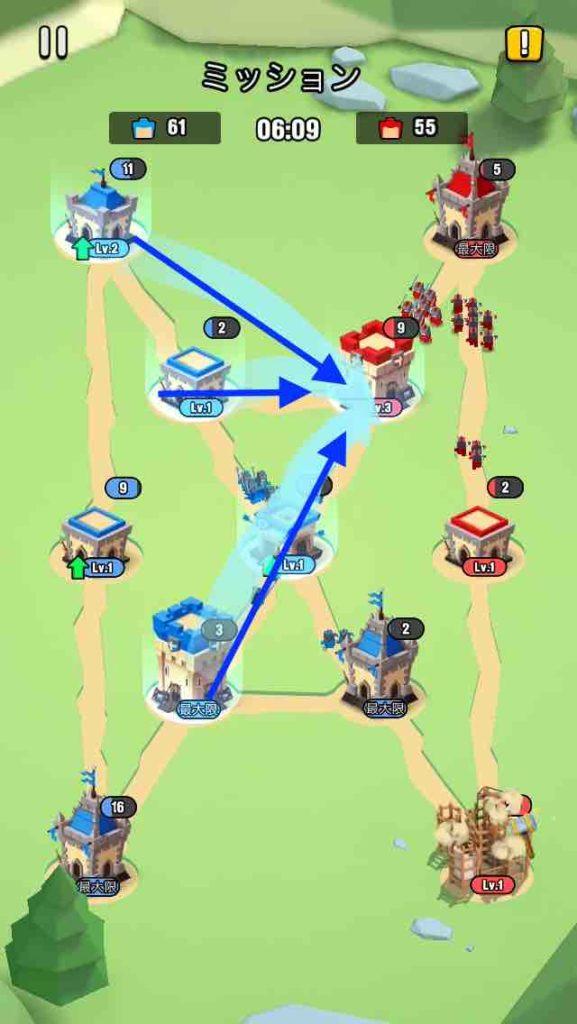 art of war(アートオブウォー)のチャプター2レベル20の画面で、右上の建物を攻めています。