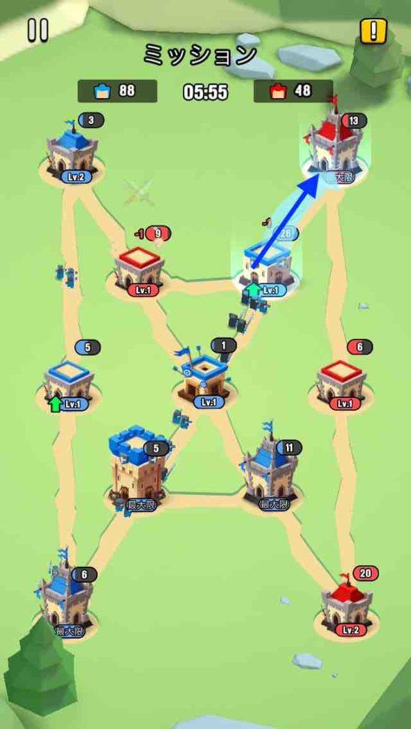 art of war(アートオブウォー)のチャプター2レベル20の画面で、一番左上の建物を攻めています。