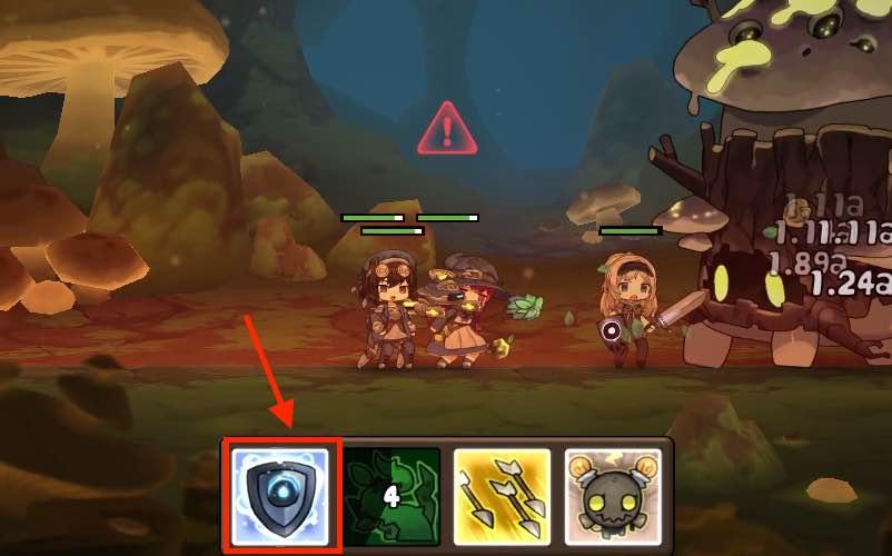 勇者の飯の戦闘画面です。2面の毒キノコの毒ガス攻撃画面です。