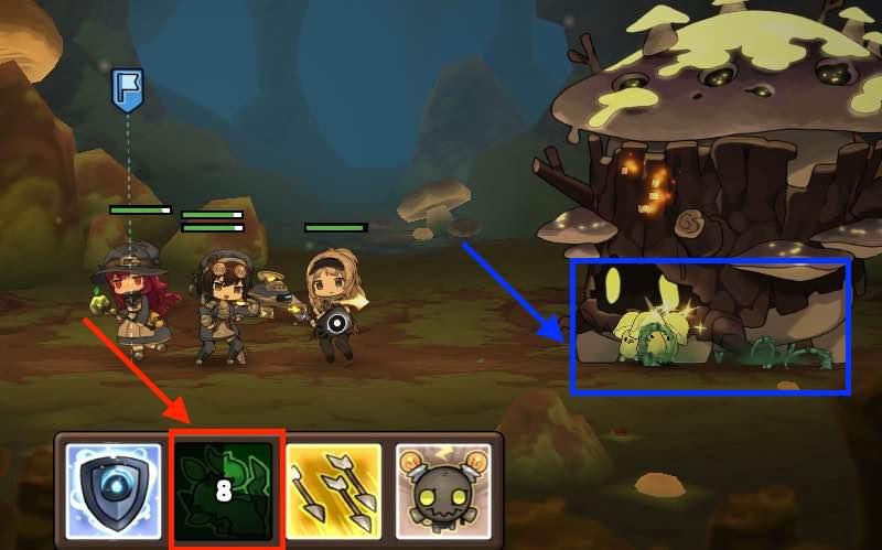 勇者の飯の戦闘画面です。2面の毒キノコの画面です。