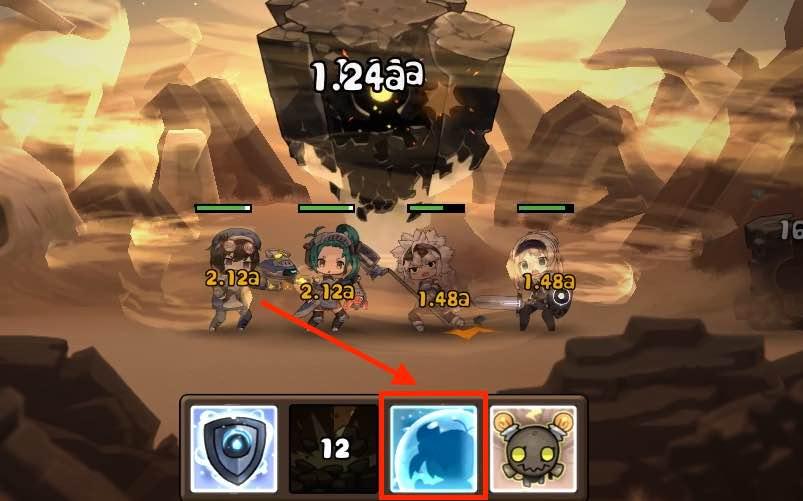 勇者の飯の戦闘画面です。4面の岩の砂嵐攻撃画面です。