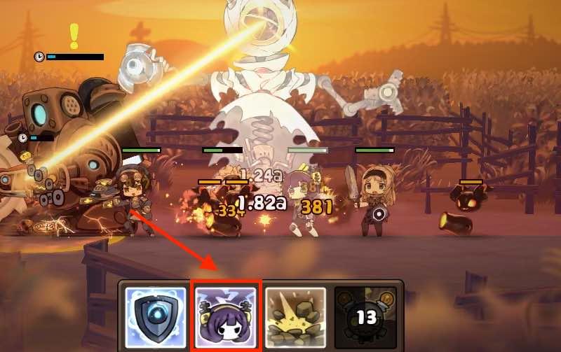 勇者の飯の戦闘画面です。6面の1つ目のレーザー攻撃の画面です。