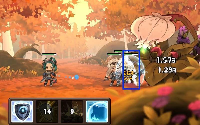 勇者の飯の戦闘画面です。7面の毒花の単体攻撃画面です。