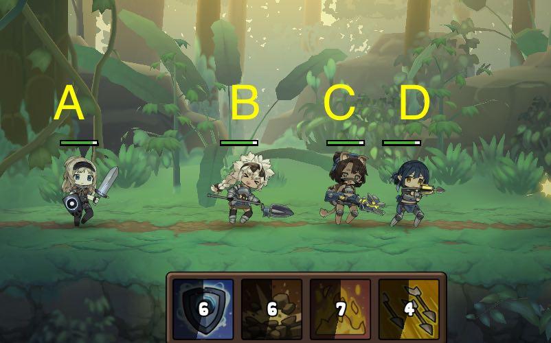 勇者の飯の戦闘画面です。ABCD配置です。