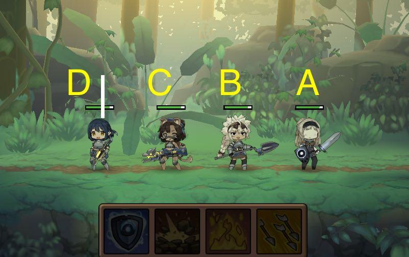 勇者の飯の戦闘画面です。DCBA配置です。